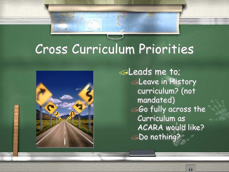 Cross Curriculum Priorities / Leads me to; / Leave in History curriculum.
