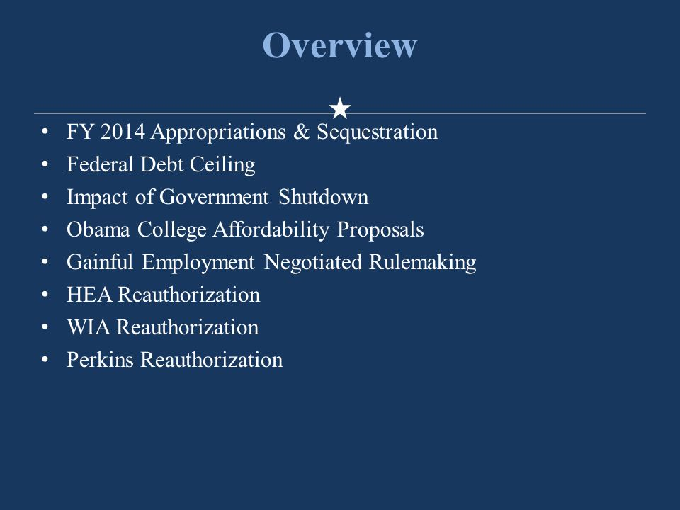 Overview FY 2014 Appropriations & Sequestration Federal Debt Ceiling Impact of Government Shutdown Obama College Affordability Proposals Gainful Employment Negotiated Rulemaking HEA Reauthorization WIA Reauthorization Perkins Reauthorization