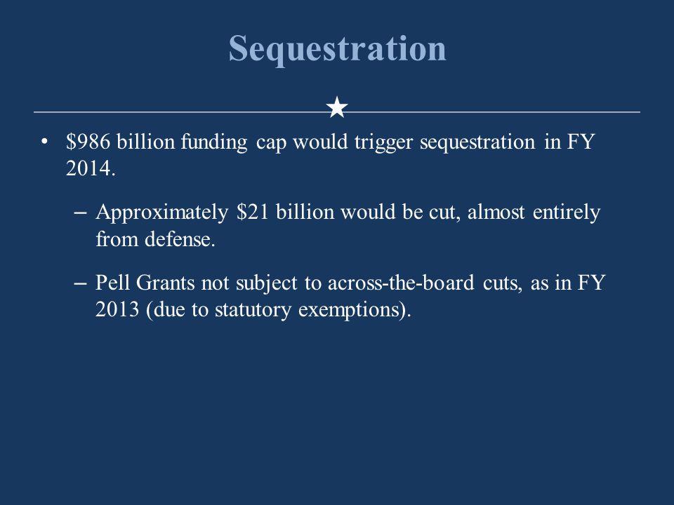 Sequestration $986 billion funding cap would trigger sequestration in FY 2014.