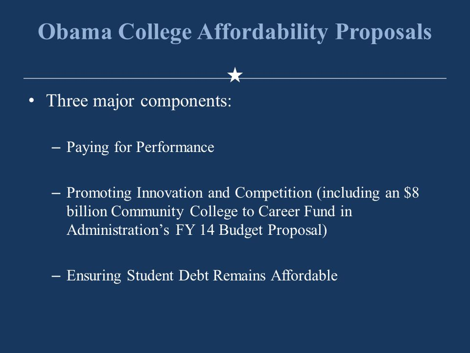 Obama College Affordability Proposals Three major components: –Paying for Performance –Promoting Innovation and Competition (including an $8 billion Community College to Career Fund in Administration's FY 14 Budget Proposal) –Ensuring Student Debt Remains Affordable