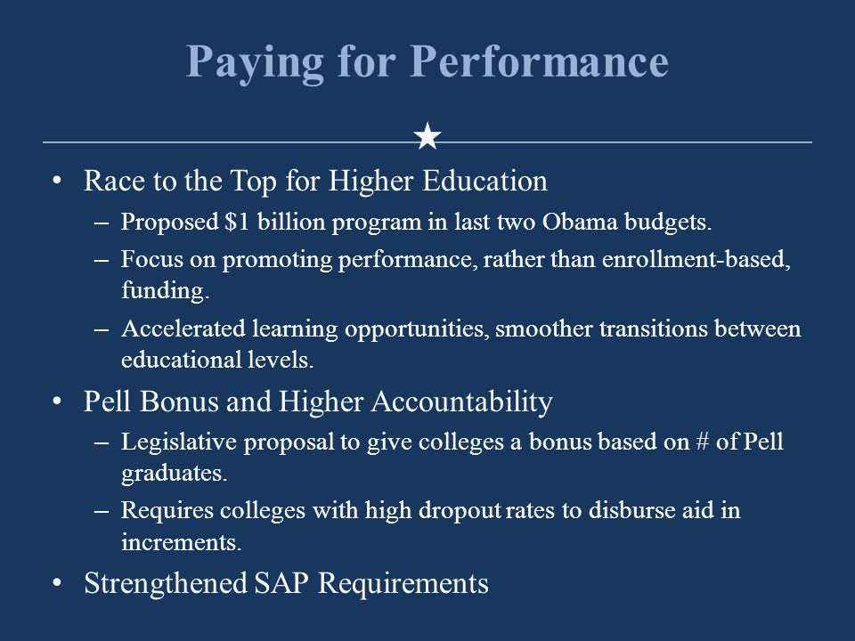 Paying for Performance Race to the Top for Higher Education –Proposed $1 billion program in last two Obama budgets.
