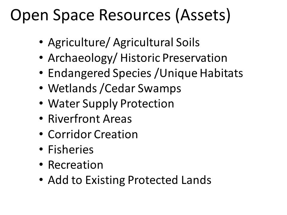 Open Space Resources (Assets) Agriculture/ Agricultural Soils Archaeology/ Historic Preservation Endangered Species /Unique Habitats Wetlands /Cedar Swamps Water Supply Protection Riverfront Areas Corridor Creation Fisheries Recreation Add to Existing Protected Lands