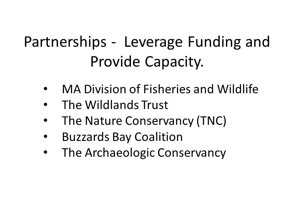 Partnerships - Leverage Funding and Provide Capacity.