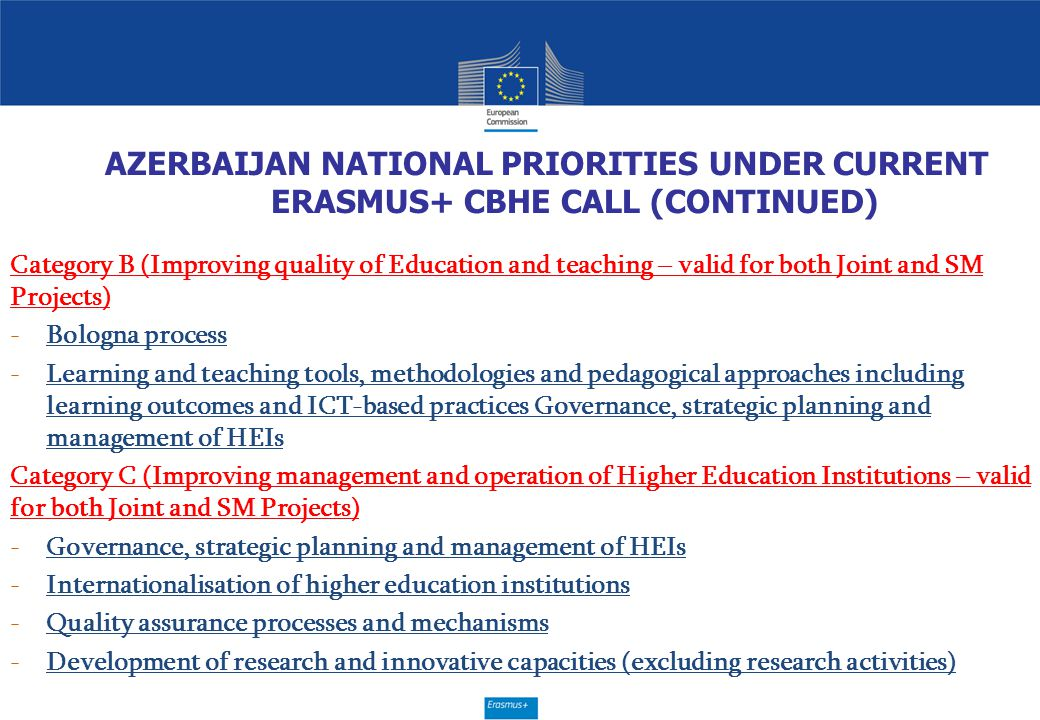 AZERBAIJAN NATIONAL PRIORITIES UNDER CURRENT ERASMUS+ CBHE CALL (CONTINUED) Category B (Improving quality of Education and teaching – valid for both J