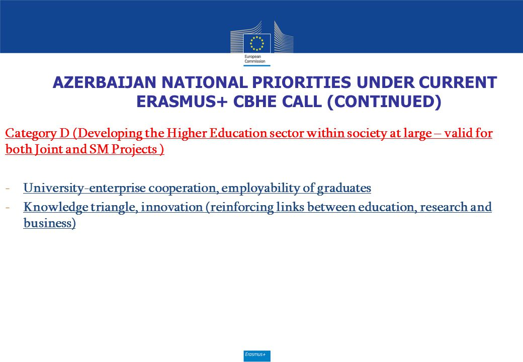 AZERBAIJAN NATIONAL PRIORITIES UNDER CURRENT ERASMUS+ CBHE CALL (CONTINUED) Category D (Developing the Higher Education sector within society at large