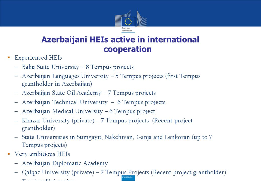 Azerbaijani HEIs active in international cooperation  Experienced HEIs –Baku State University – 8 Tempus projects –Azerbaijan Languages University –