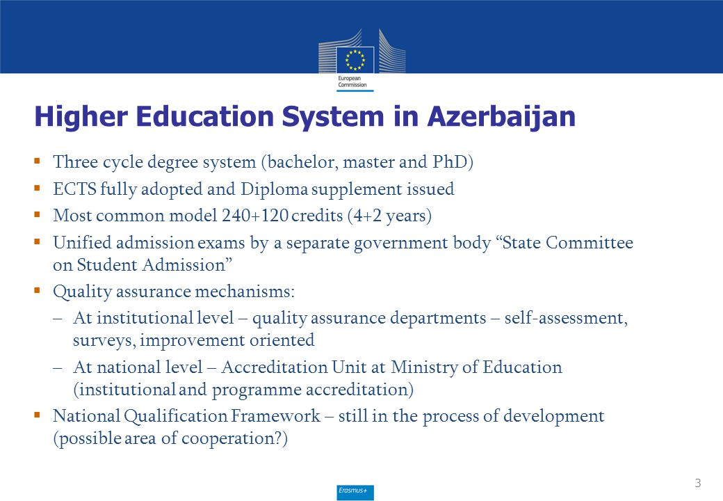 3 Higher Education System in Azerbaijan  Three cycle degree system (bachelor, master and PhD)  ECTS fully adopted and Diploma supplement issued  Mo