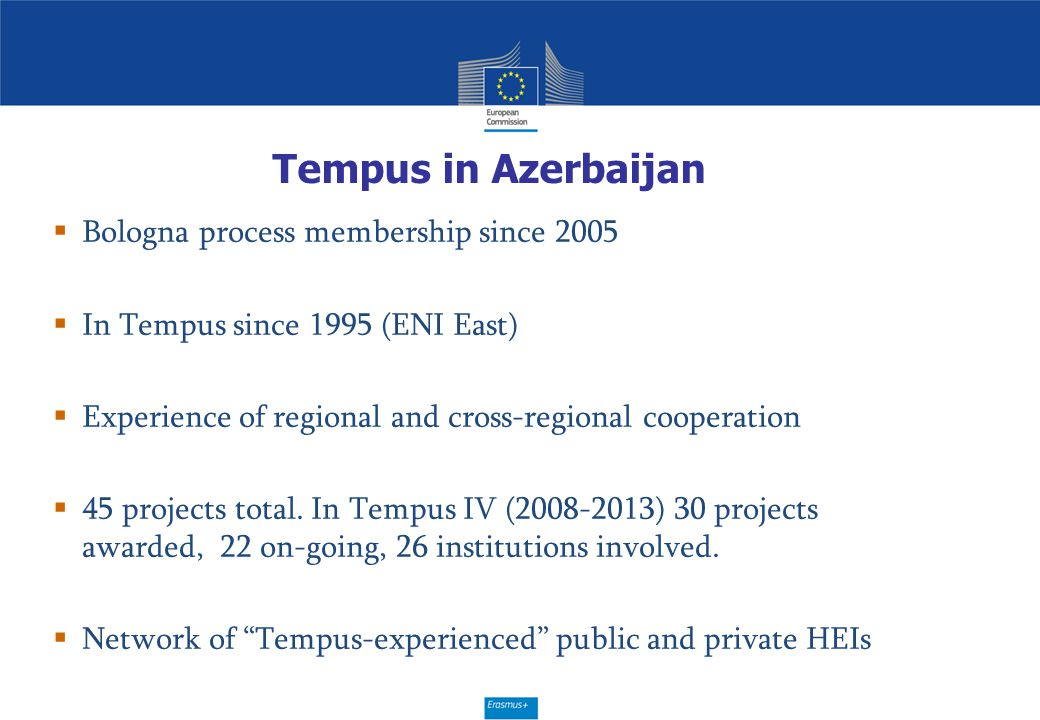 Tempus in Azerbaijan  Bologna process membership since 2005  In Tempus since 1995 (ENI East)  Experience of regional and cross-regional cooperation