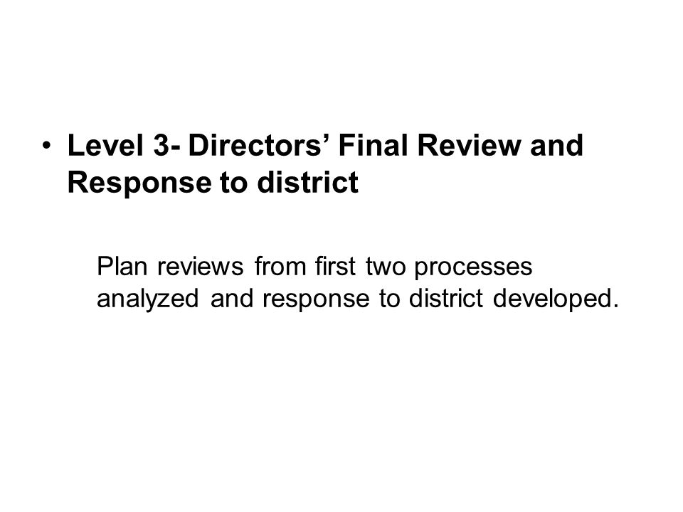Level 3- Directors' Final Review and Response to district Plan reviews from first two processes analyzed and response to district developed.