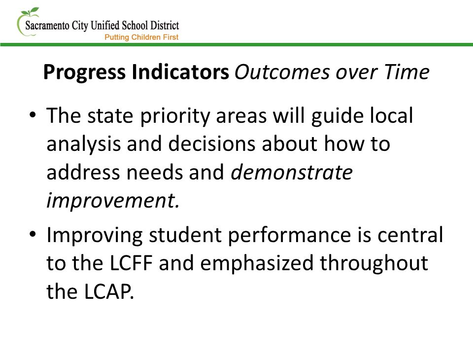 Progress Indicators Outcomes over Time The state priority areas will guide local analysis and decisions about how to address needs and demonstrate imp