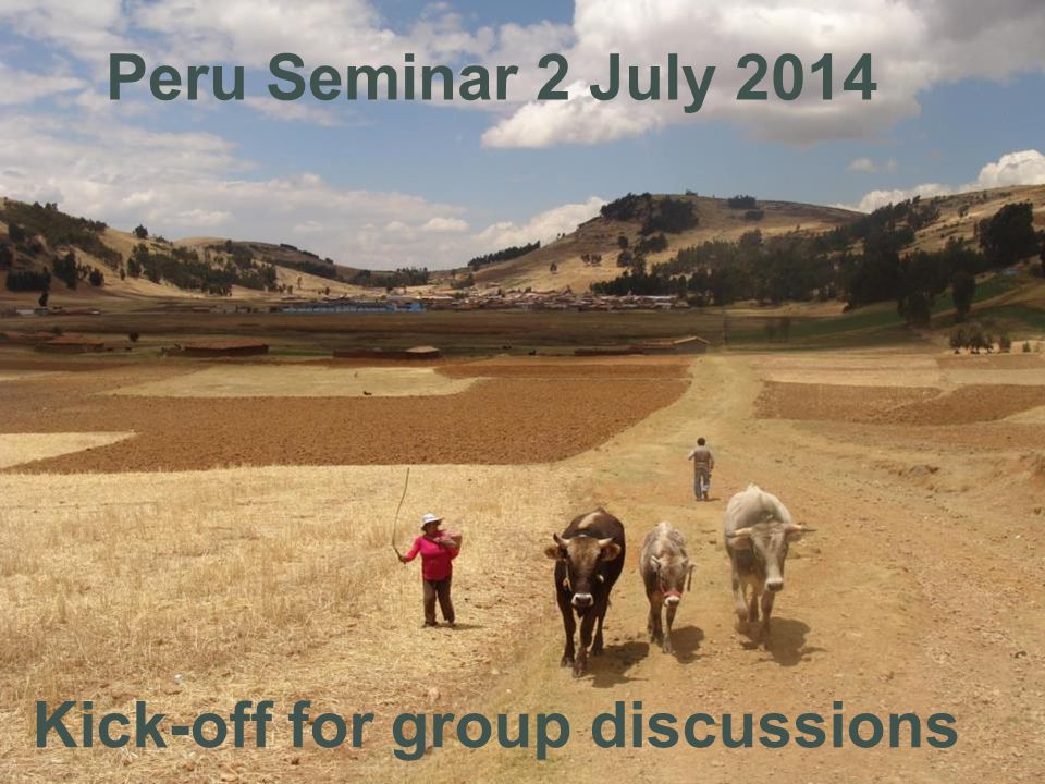 Kick-off for group discussions Peru Seminar 2 July 2014