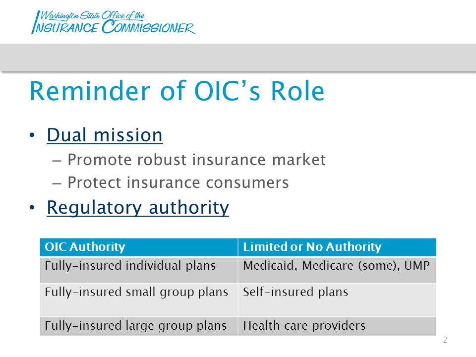 Reminder of OIC's Role Dual mission – Promote robust insurance market – Protect insurance consumers Regulatory authority 2 OIC AuthorityLimited or No