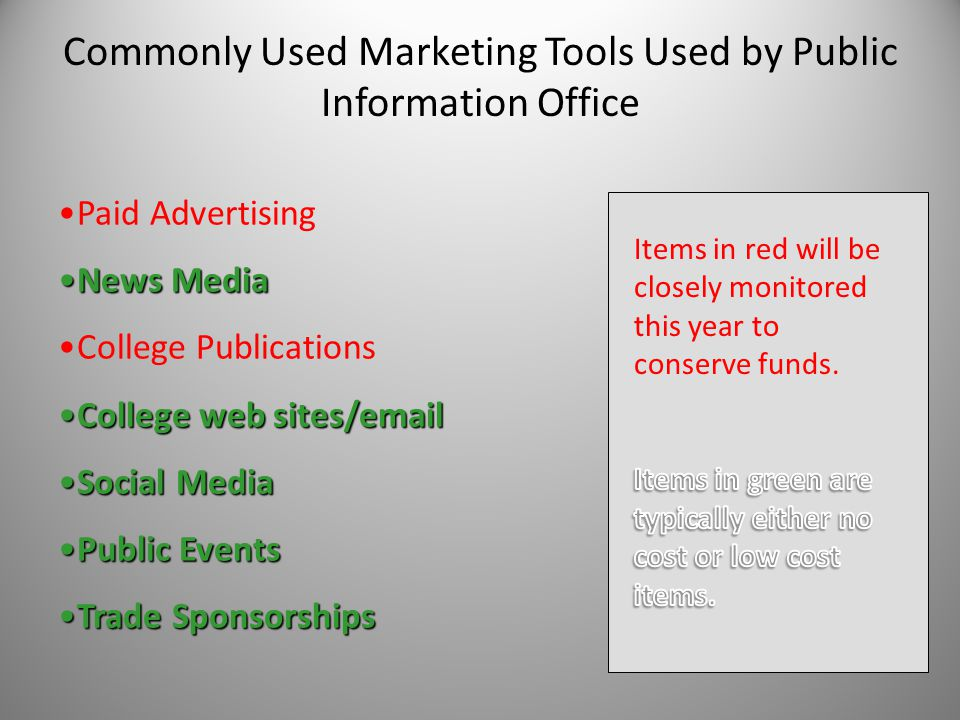 Commonly Used Marketing Tools Used by Public Information Office Paid Advertising News MediaNews Media College Publications College web sites/emailCollege web sites/email Social MediaSocial Media Public EventsPublic Events Trade SponsorshipsTrade Sponsorships