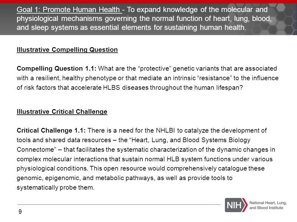 Goal 1: Promote Human Health - To expand knowledge of the molecular and physiological mechanisms governing the normal function of heart, lung, blood,