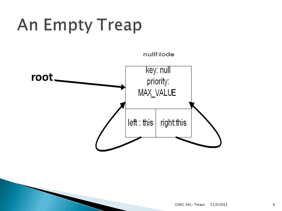 11/5/2011CMSC 341 - Treaps9 root