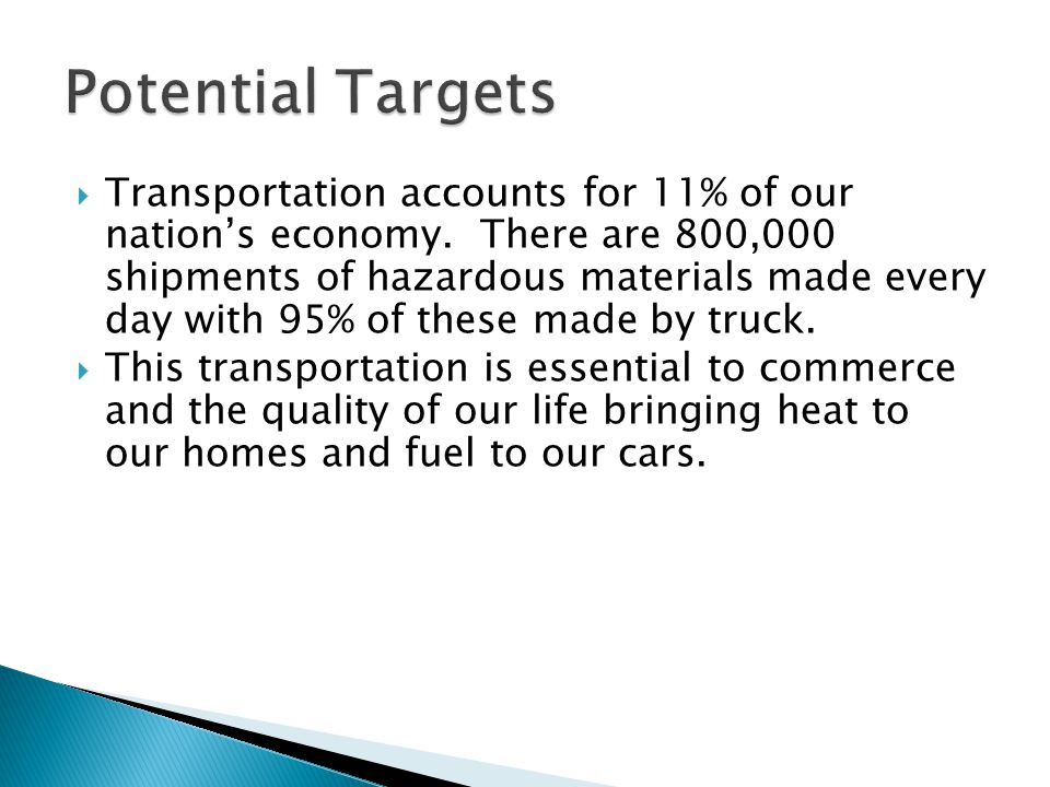  Transportation accounts for 11% of our nation's economy.