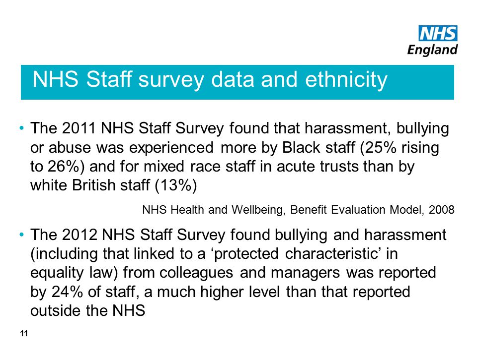 NHS Staff survey data and ethnicity The 2011 NHS Staff Survey found that harassment, bullying or abuse was experienced more by Black staff (25% rising to 26%) and for mixed race staff in acute trusts than by white British staff (13%) NHS Health and Wellbeing, Benefit Evaluation Model, 2008 The 2012 NHS Staff Survey found bullying and harassment (including that linked to a 'protected characteristic' in equality law) from colleagues and managers was reported by 24% of staff, a much higher level than that reported outside the NHS 11