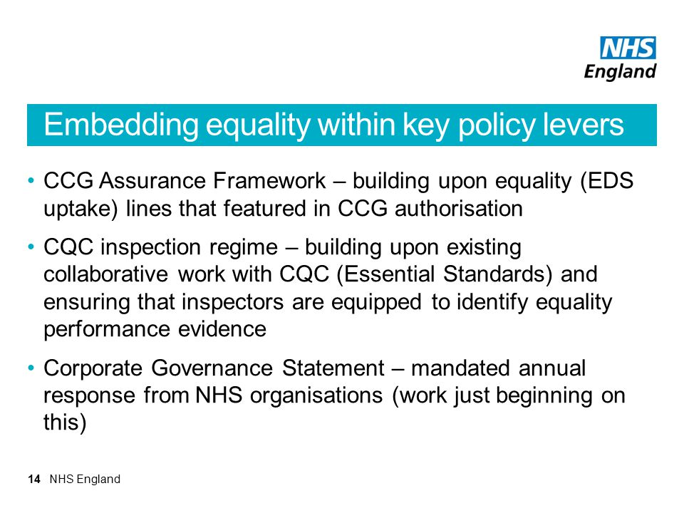 Embedding equality within key policy levers CCG Assurance Framework – building upon equality (EDS uptake) lines that featured in CCG authorisation CQC
