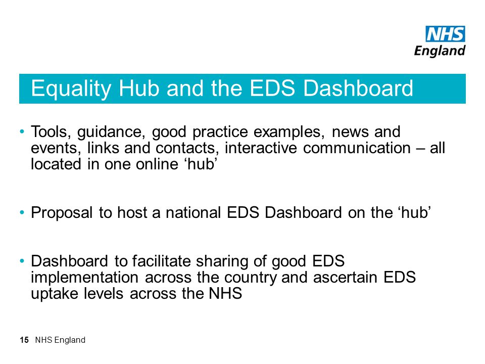 Equality Hub and the EDS Dashboard Tools, guidance, good practice examples, news and events, links and contacts, interactive communication – all locat