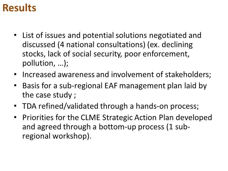 Results List of issues and potential solutions negotiated and discussed (4 national consultations) (ex.