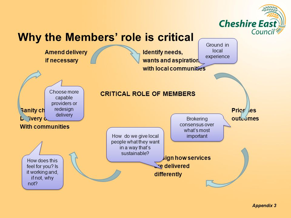 Why the Members' role is critical Amend delivery Identify needs, if necessary wants and aspirations with local communities CRITICAL ROLE OF MEMBERS Sanity check Priorities Delivery of outcomes outcomes With communities Design how services are delivered differently Appendix 3 How does this feel for you.