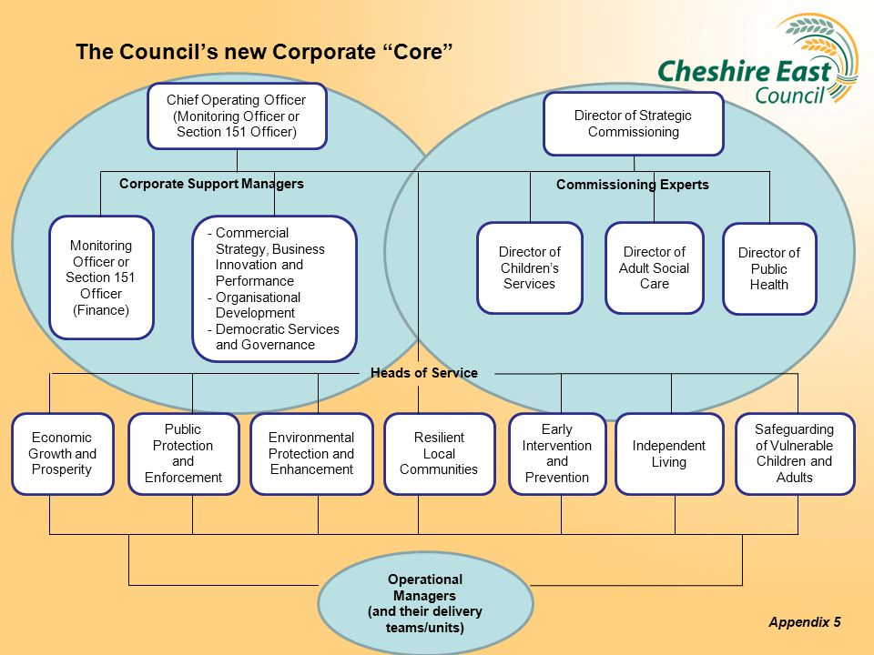 The Council's new Corporate Core C Monitoring Officer or Section 151 Officer (Finance) -Commercial Strategy, Business Innovation and Performance -Organisational Development -Democratic Services and Governance Chief Operating Officer (Monitoring Officer or Section 151 Officer) Director of Strategic Commissioning Director of Children's Services Director of Adult Social Care Director of Public Health Commissioning Experts Heads of Service Economic Growth and Prosperity Public Protection and Enforcement Environmental Protection and Enhancement Resilient Local Communities Early Intervention and Prevention Independent Living Safeguarding of Vulnerable Children and Adults Corporate Support Managers Operational Managers (and their delivery teams/units) Appendix 5