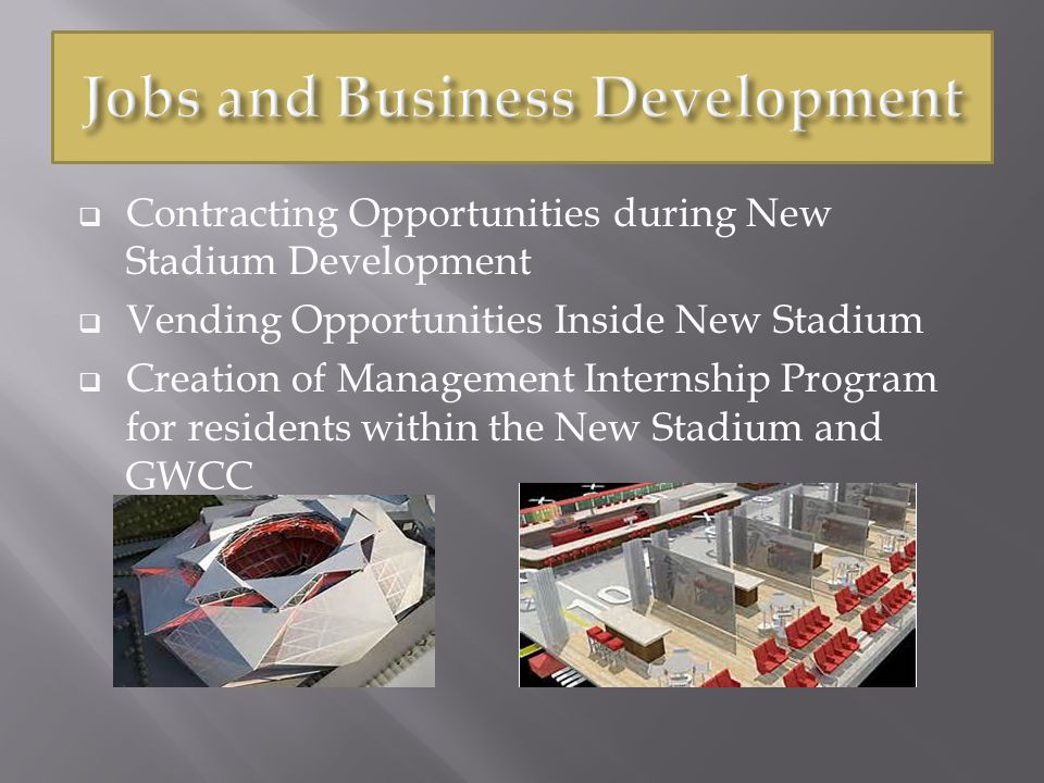  Contracting Opportunities during New Stadium Development  Vending Opportunities Inside New Stadium  Creation of Management Internship Program for residents within the New Stadium and GWCC