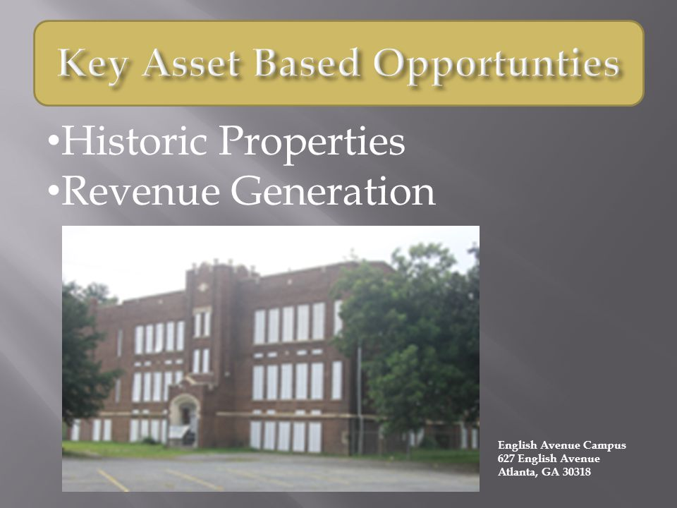 Historic Properties Revenue Generation English Avenue Campus 627 English Avenue Atlanta, GA 30318