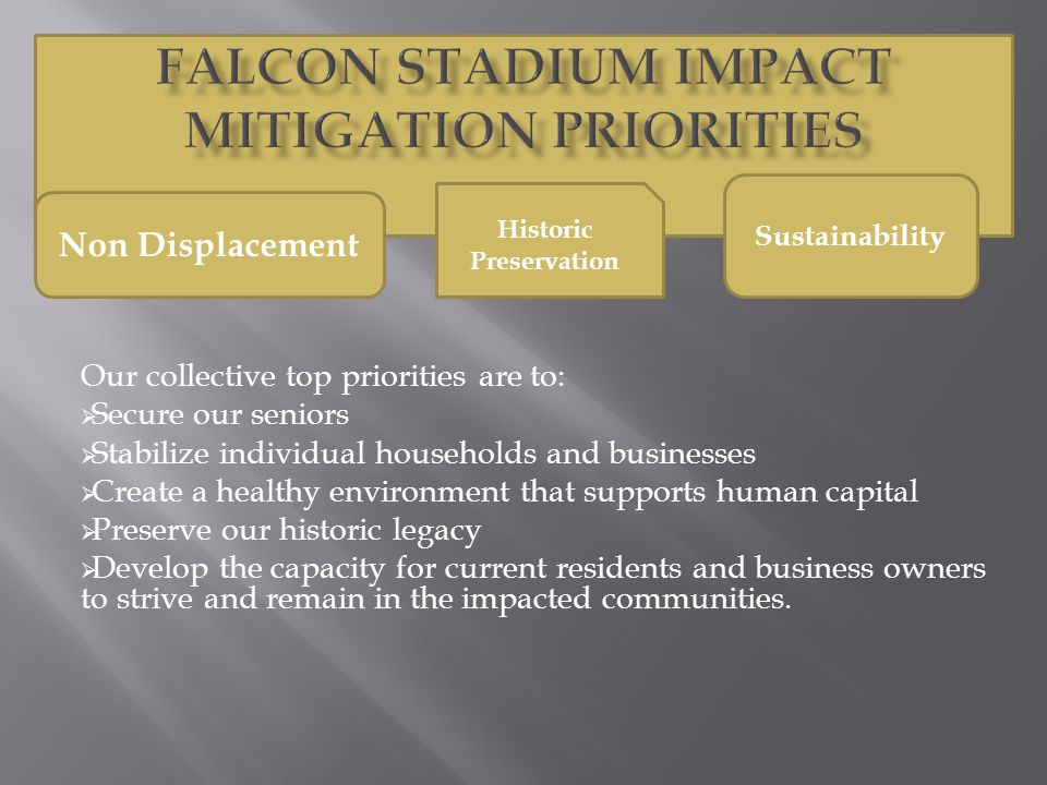 Our collective top priorities are to:  Secure our seniors  Stabilize individual households and businesses  Create a healthy environment that suppor