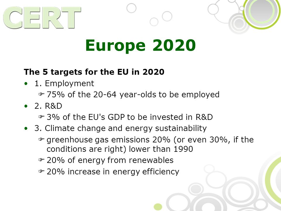 Europe 2020 The 5 targets for the EU in 2020 1.