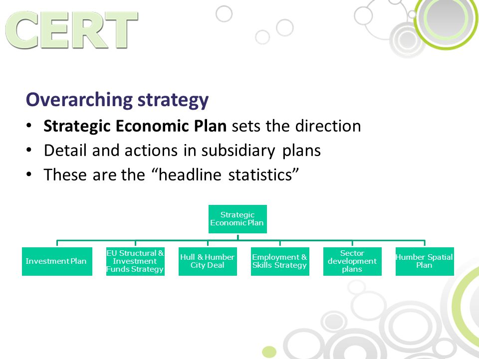 Overarching strategy Strategic Economic Plan sets the direction Detail and actions in subsidiary plans These are the headline statistics Strategic Economic Plan Investment Plan EU Structural & Investment Funds Strategy Hull & Humber City Deal Employment & Skills Strategy Sector development plans Humber Spatial Plan