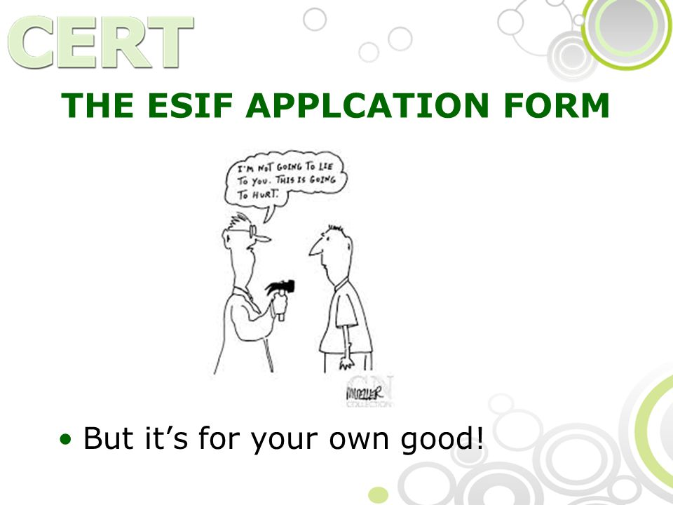 THE ESIF APPLCATION FORM But it's for your own good!