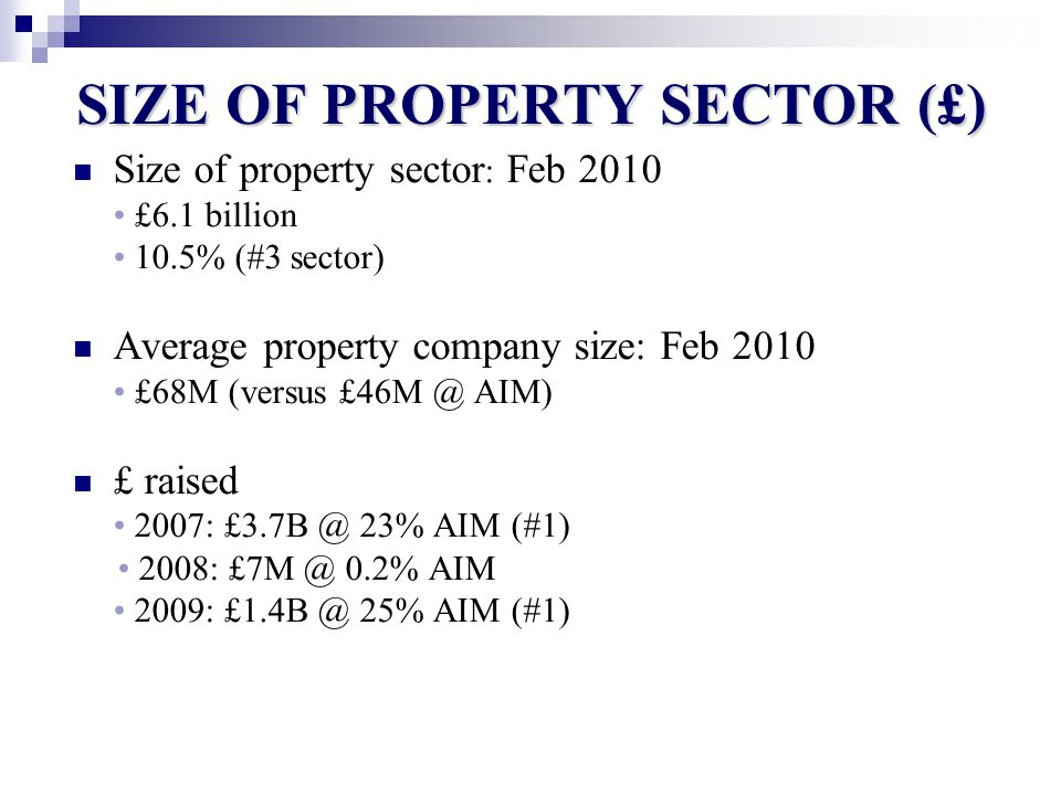 SIZE OF PROPERTY SECTOR (£) Size of property sector : Feb 2010 £6.1 billion 10.5% (#3 sector) Average property company size: Feb 2010 £68M (versus £46M @ AIM) £ raised 2007: £3.7B @ 23% AIM (#1) 2008: £7M @ 0.2% AIM 2009: £1.4B @ 25% AIM (#1)