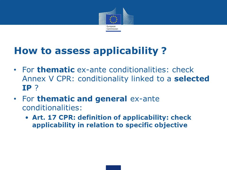 How to assess applicability .
