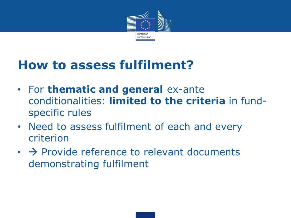 How to assess fulfilment.