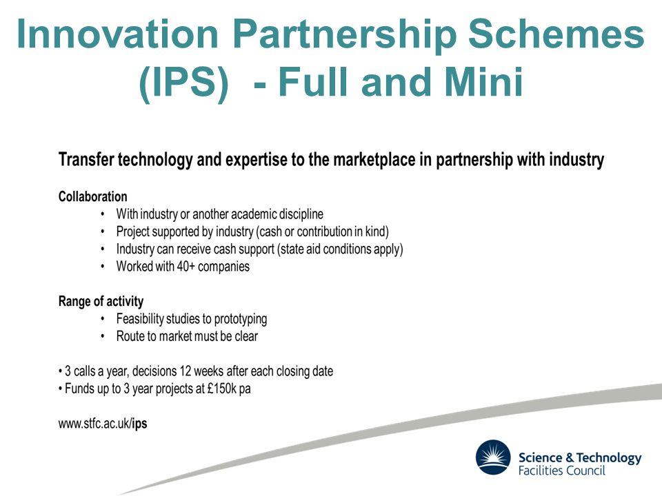Innovation Partnership Schemes (IPS) - Full and Mini