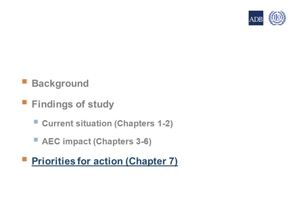  Background  Findings of study  Current situation (Chapters 1-2)  AEC impact (Chapters 3-6)  Priorities for action (Chapter 7) 20