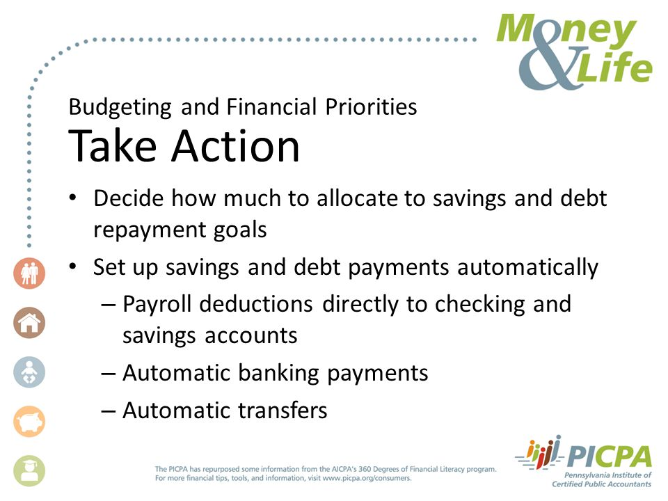 Budgeting and Financial Priorities Take Action Decide how much to allocate to savings and debt repayment goals Set up savings and debt payments automatically – Payroll deductions directly to checking and savings accounts – Automatic banking payments – Automatic transfers