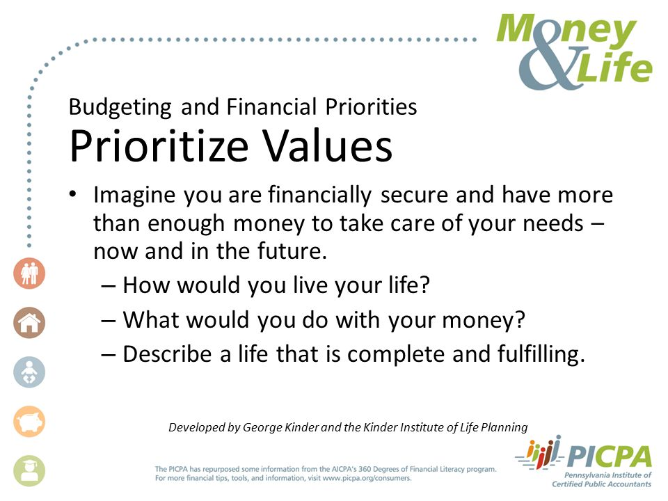 Budgeting and Financial Priorities Prioritize Values Imagine you are financially secure and have more than enough money to take care of your needs – now and in the future.