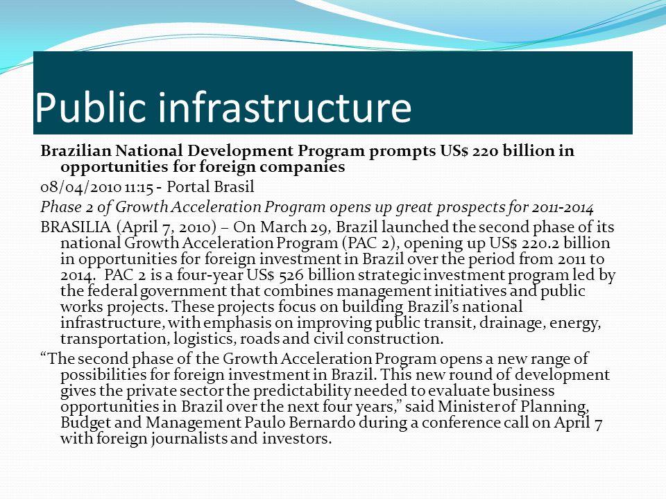 Public infrastructure Brazilian National Development Program prompts US$ 220 billion in opportunities for foreign companies 08/04/2010 11:15 - Portal