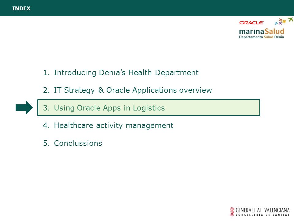 1.Introducing Denia's Health Department 2.IT Strategy & Oracle Applications overview 3.Using Oracle Apps in Logistics 4.Healthcare activity management 5.Conclussions INDEX
