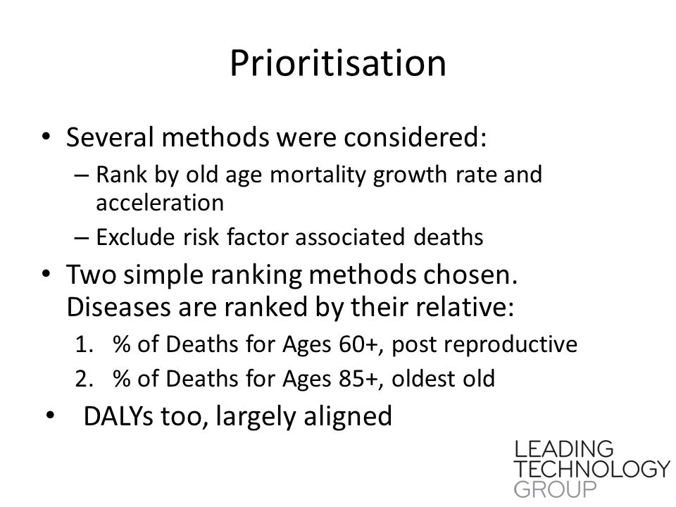 Prioritisation Several methods were considered: – Rank by old age mortality growth rate and acceleration – Exclude risk factor associated deaths Two simple ranking methods chosen.