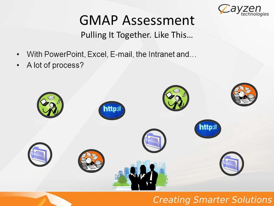 GMAP Assessment … Or Like This… Business Intelligence (BI) – Metrics GMAP requires MetaStorm ProVision as a Metadata Repository