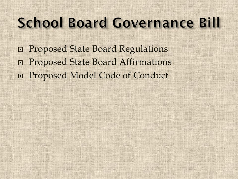  Proposed State Board Regulations  Proposed State Board Affirmations  Proposed Model Code of Conduct