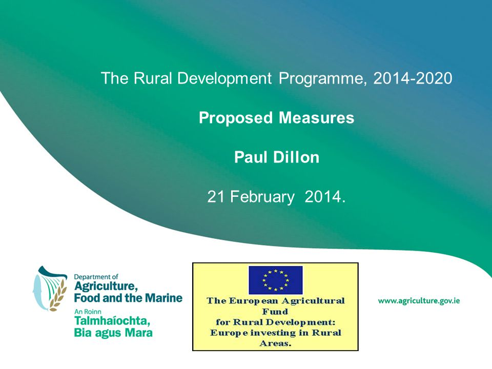 Proposed Measures (7) 3.On Farm Capital Investments –Targeted Agricultural Modernisation Scheme II Dairy equipment Slurry storage Animal Housing Bionergy Trailing shoe –Support for Young Farmers under TAMS II Higher rate of aid intensity