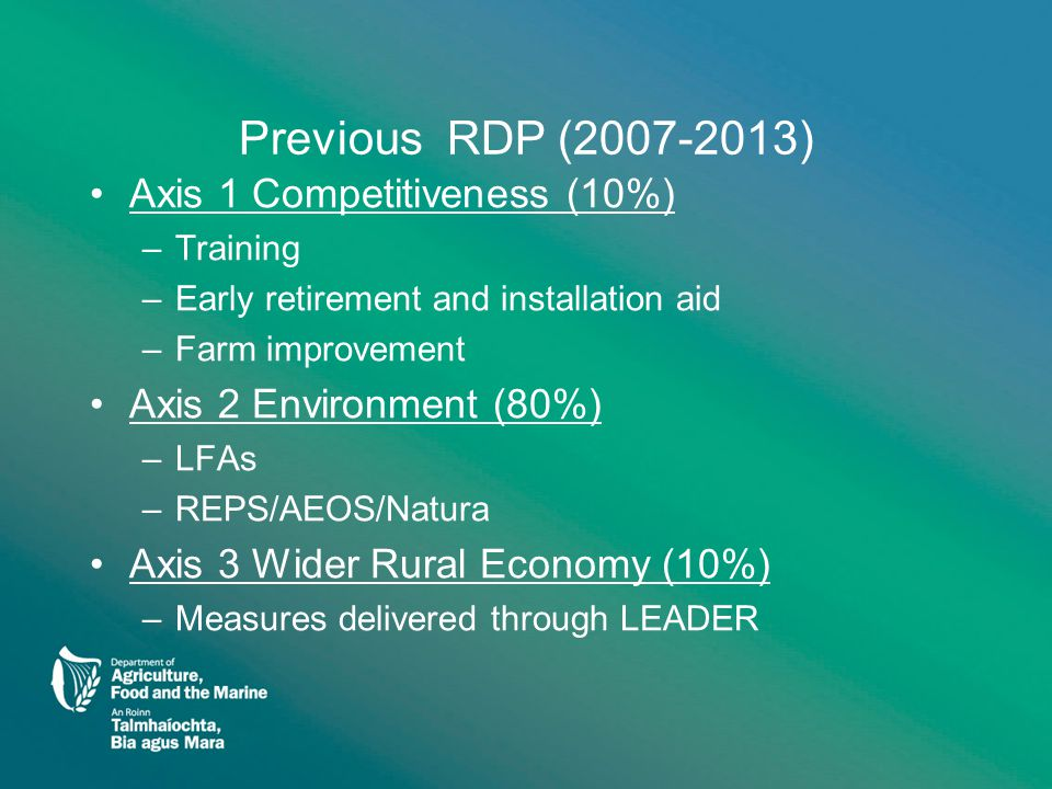 Previous RDP (2007-2013) Axis 1 Competitiveness (10%) –Training –Early retirement and installation aid –Farm improvement Axis 2 Environment (80%) –LFAs –REPS/AEOS/Natura Axis 3 Wider Rural Economy (10%) –Measures delivered through LEADER