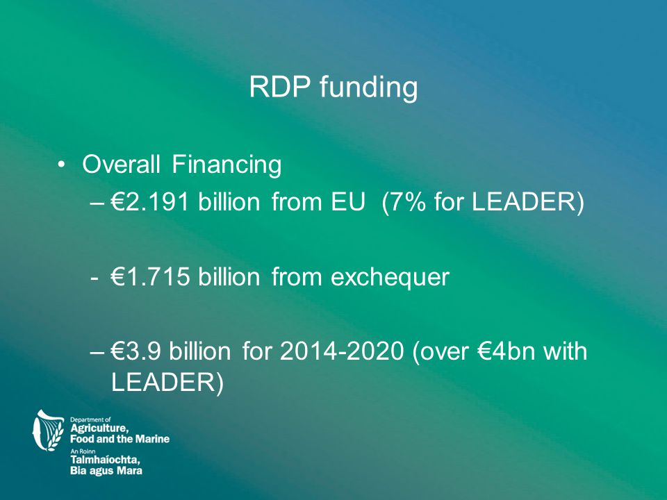 RDP funding Overall Financing –€2.191 billion from EU (7% for LEADER) -€1.715 billion from exchequer –€3.9 billion for 2014-2020 (over €4bn with LEADER)