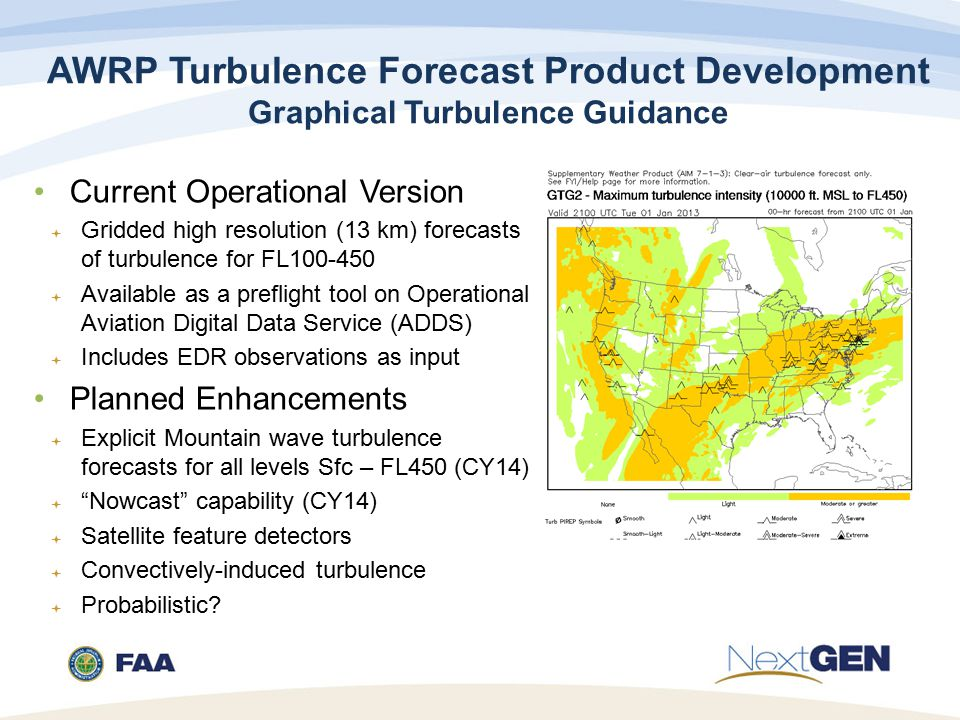 AWRP Turbulence Forecast Product Development Graphical Turbulence Guidance Current Operational Version  Gridded high resolution (13 km) forecasts of turbulence for FL  Available as a preflight tool on Operational Aviation Digital Data Service (ADDS)  Includes EDR observations as input Planned Enhancements  Explicit Mountain wave turbulence forecasts for all levels Sfc – FL450 (CY14)  Nowcast capability (CY14)  Satellite feature detectors  Convectively-induced turbulence  Probabilistic
