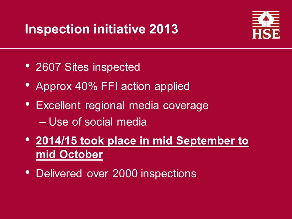 Inspection initiative 2013 2607 Sites inspected Approx 40% FFI action applied Excellent regional media coverage –Use of social media 2014/15 took place in mid September to mid October Delivered over 2000 inspections