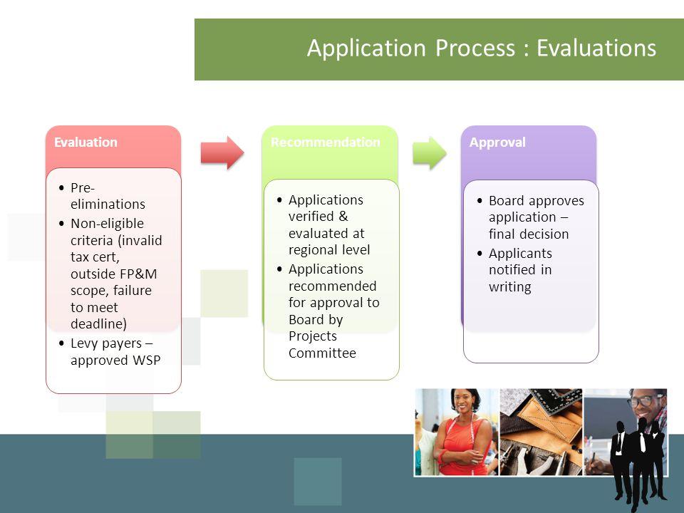 Application Process : Evaluations Evaluation Pre- eliminations Non-eligible criteria (invalid tax cert, outside FP&M scope, failure to meet deadline)